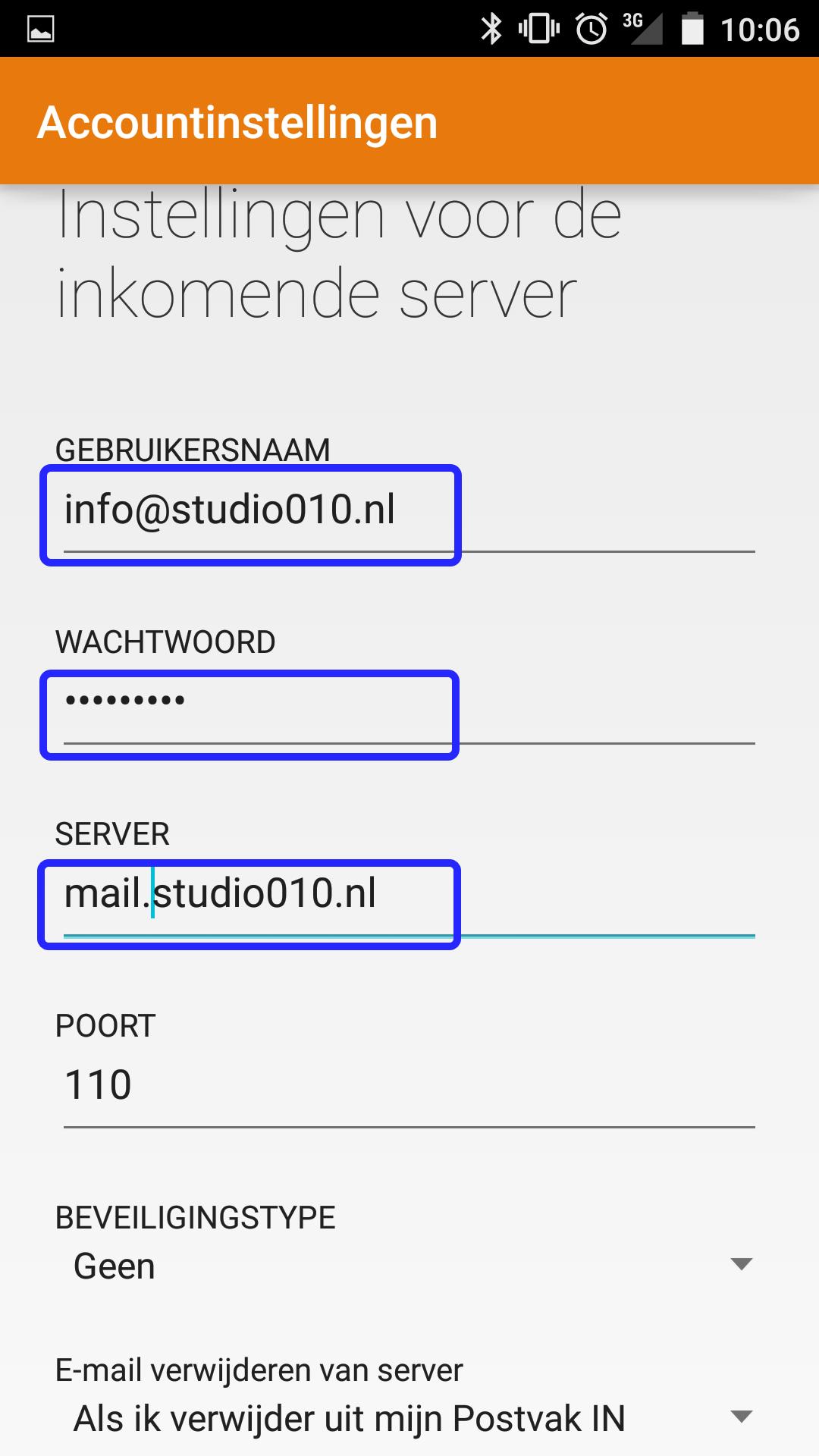 Voer uw emailadres in als gebruikersnaam, uw wachtwoord en de volledige inkomende mailserver (email.studio010.nl)
